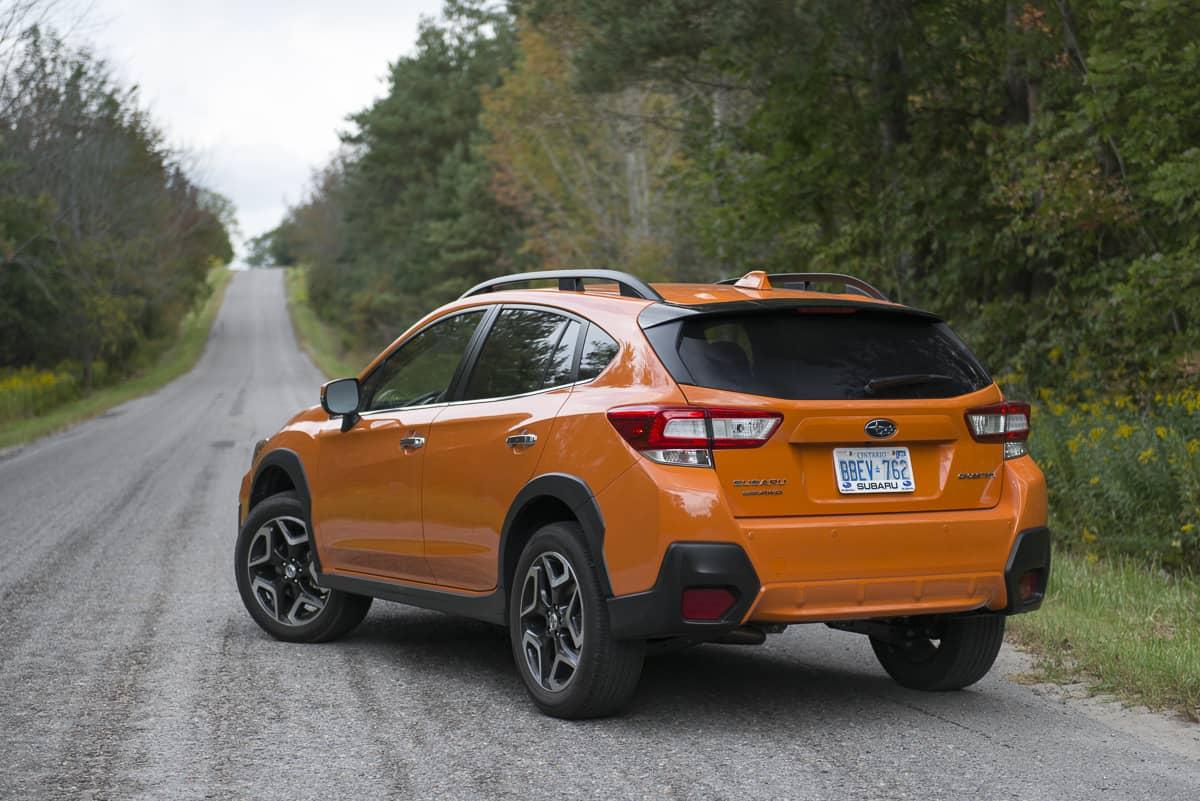 2018 subaru crosstrek review rear profile orange