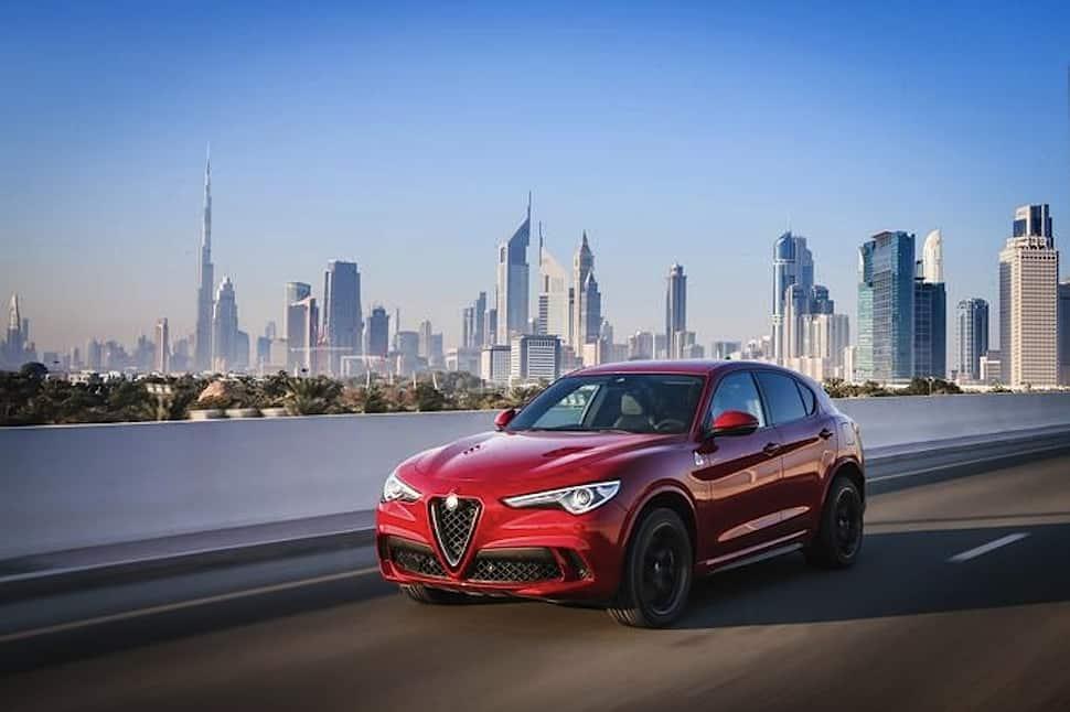 2018 Alfa Romeo Stelvio Quadrifoglio front rolling red