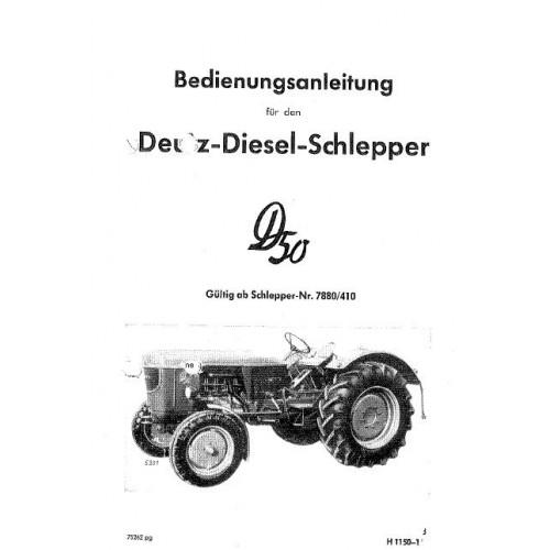 Deutz D50 Operators Manual