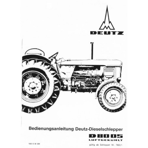 Deutz D8005 Operators Manual