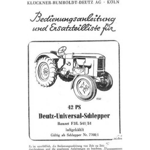 Deutz F3L514 / 51 Operators Manual
