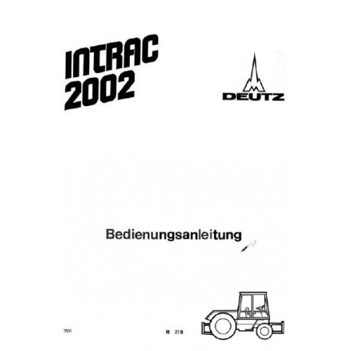 Deutz Intrac 2002 Operating Manual