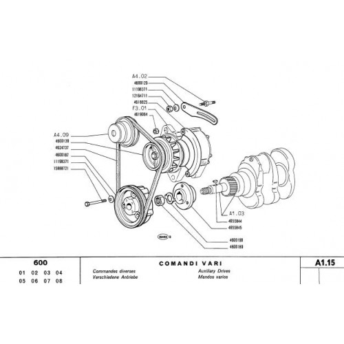 Fiat 600 Parts Manual 1980