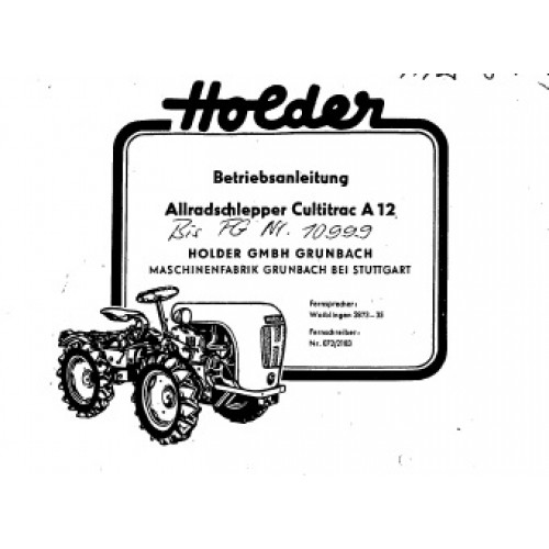 Holder A 12 Cultitrac Operators Manual