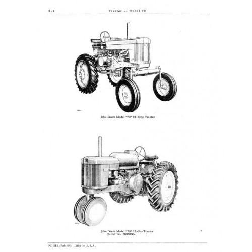 John Deere Model 70 Parts Manual