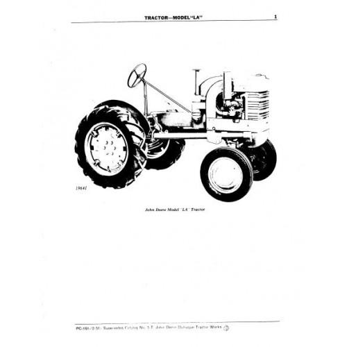 John Deere Model LA Parts Manual