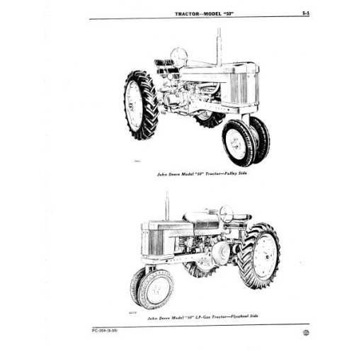 John Deere Model 50 Parts Manual