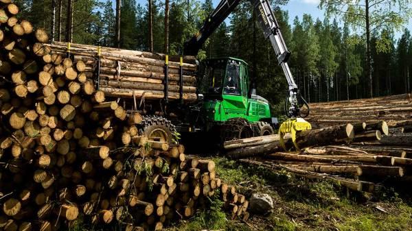 Equipo forestal John Deere cargando madera