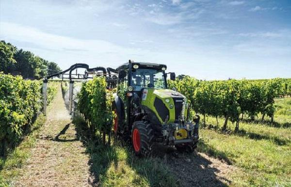 Tractor Claas Nexos tratando el viñedo