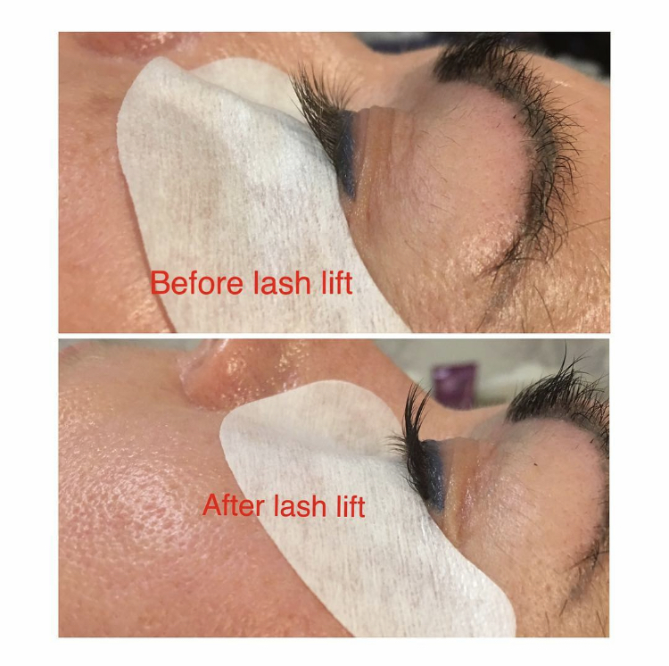 Eyelash lift treatment. Before and after