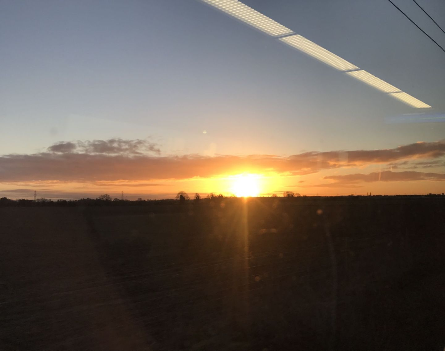 Sun rising on the way to London