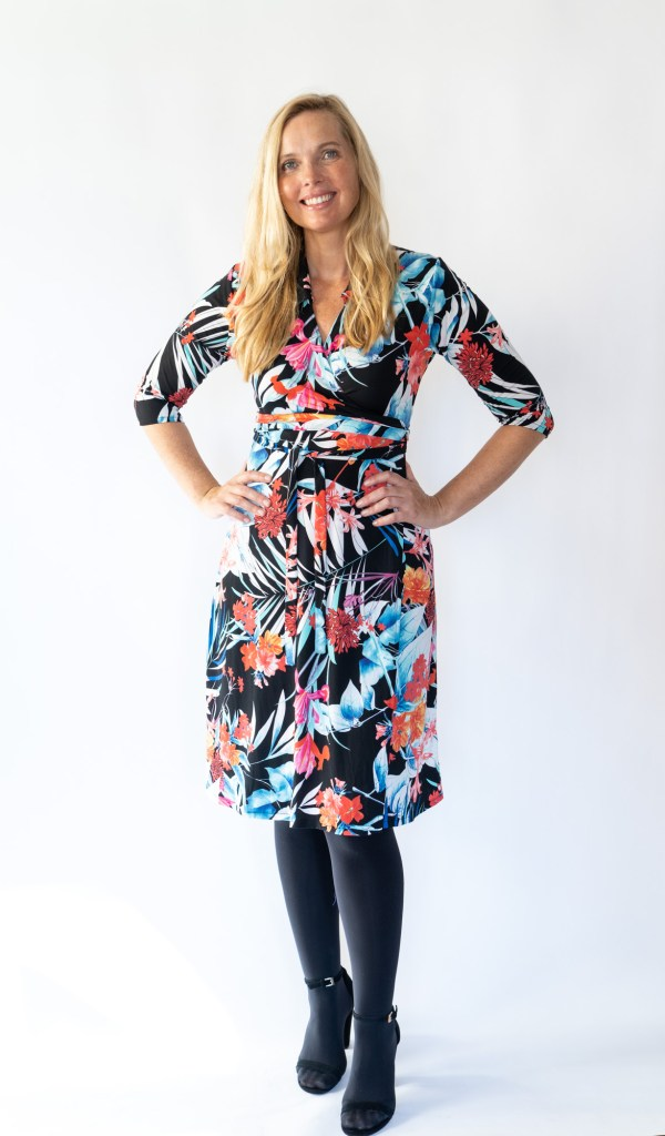 Tracy Gold Collection Bold floral wrap dress