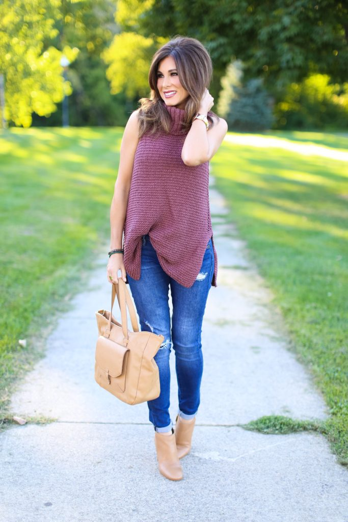 Sleeveless Knit Cowl Neck Tunic