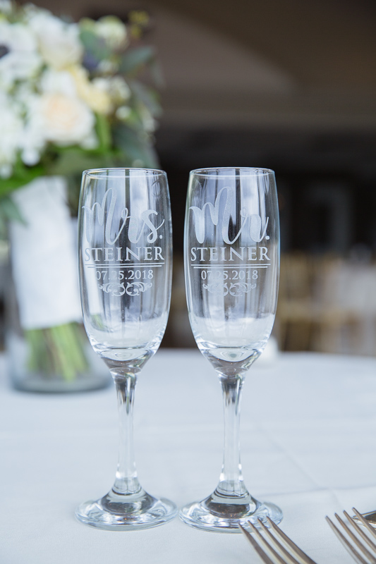toasting glasses, wedding details, details, table number, ocean cliff wedding, wedding, tracy jenkins photography, wedding photography, beach wedding, newport wedding, ocean cliff, rhode island