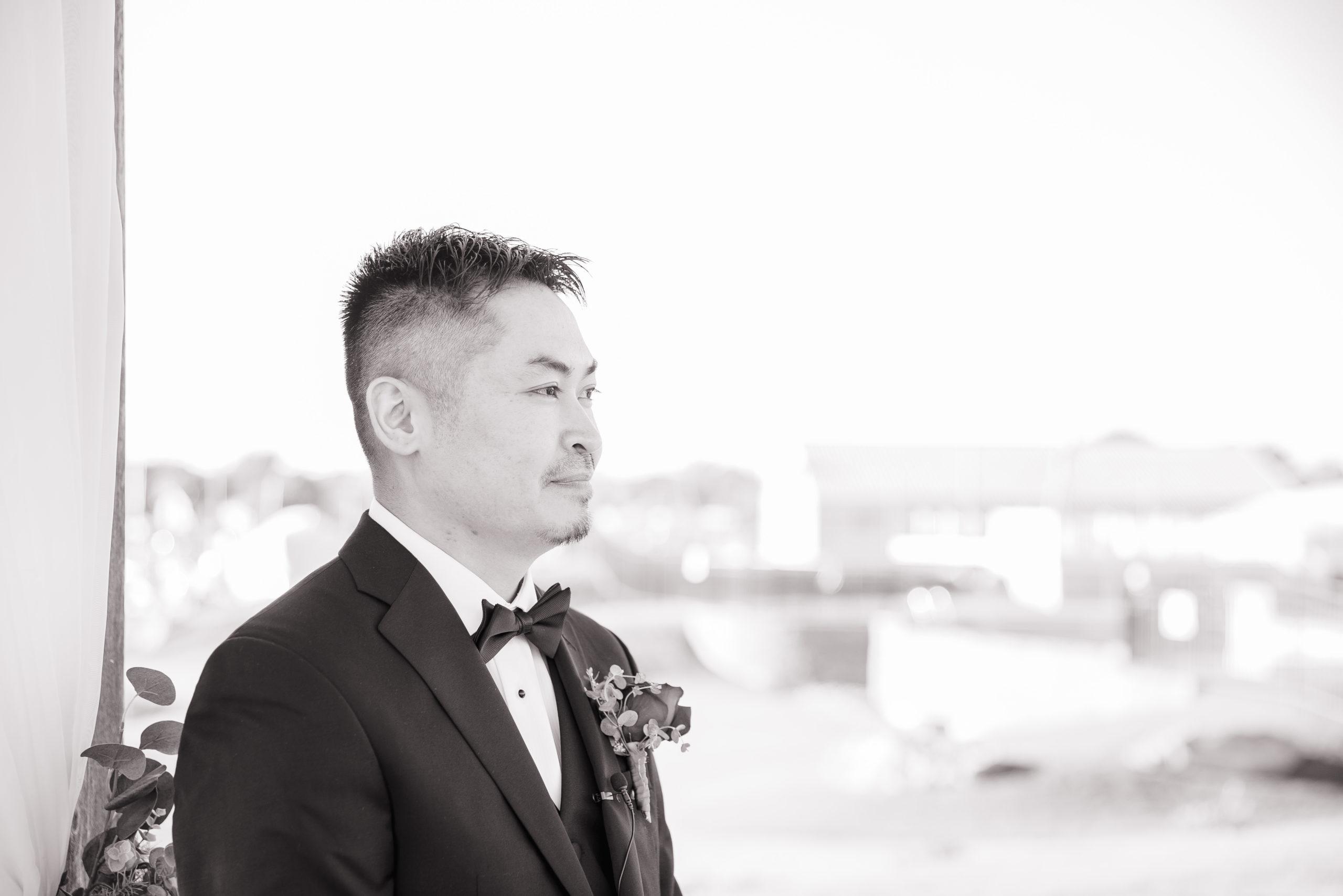 Harbor lights, warwick, rhode island, RI, Tracy Jenkins Photography, RI wedding photographer, Rhode Island wedding photographer, micro-wedding, Groom, coming down the aisle