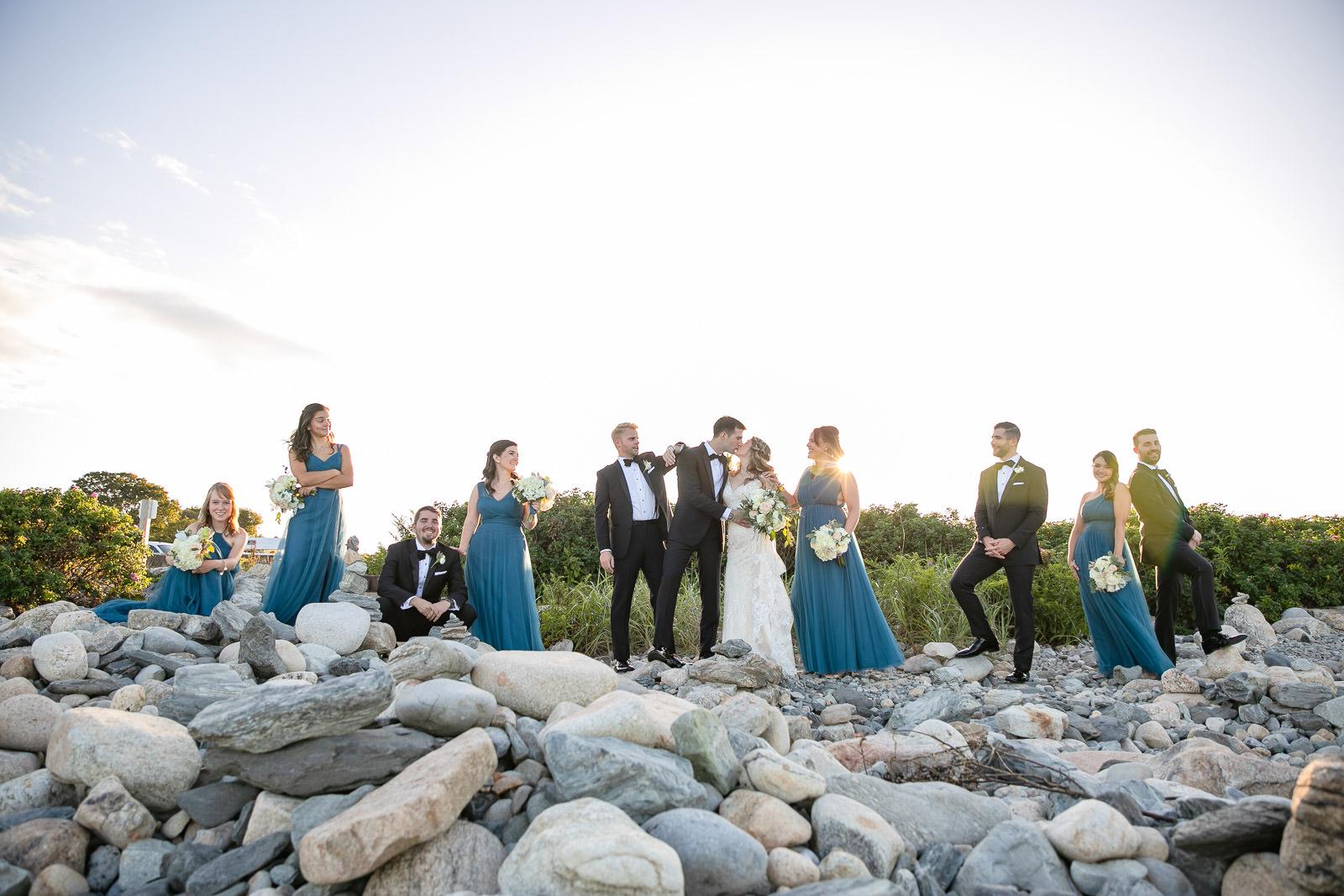 Wedding, Narragansett Towers, The Towers, Narragansett, Rhode Island, RI, Tracy Jenkins photography, RI wedding photographer, Rhode Island wedding photographer, wedding party, wedding formals, navy dresses