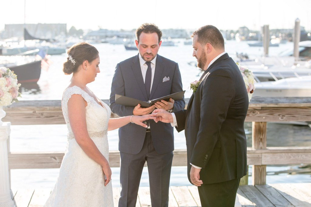 Newport Harbor Hotel, Newport harbor hotel and Marina, Newport, rhode island, beach wedding, harbor wedding, coastal wedding, wedding, Tracy jenkins photography, RI wedding photographer, Rhode Island wedding photographer, wedding ceremony, ring exchange