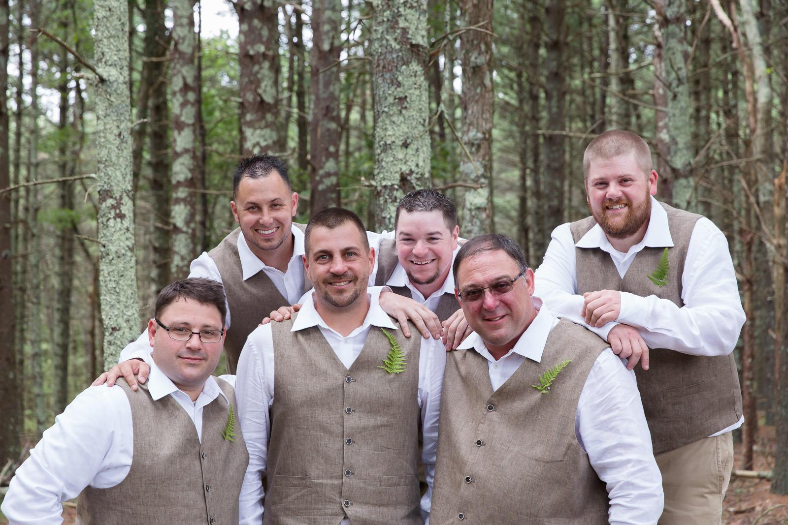 Coventry, Rhode Island, RI, Backyard Wedding, forest, earthy, wedding, tracy jenkins photography, wedding photographer, ri wedding photographer, Rhode Island Wedding photographer, grooms party, wedding party, fern boutonniere