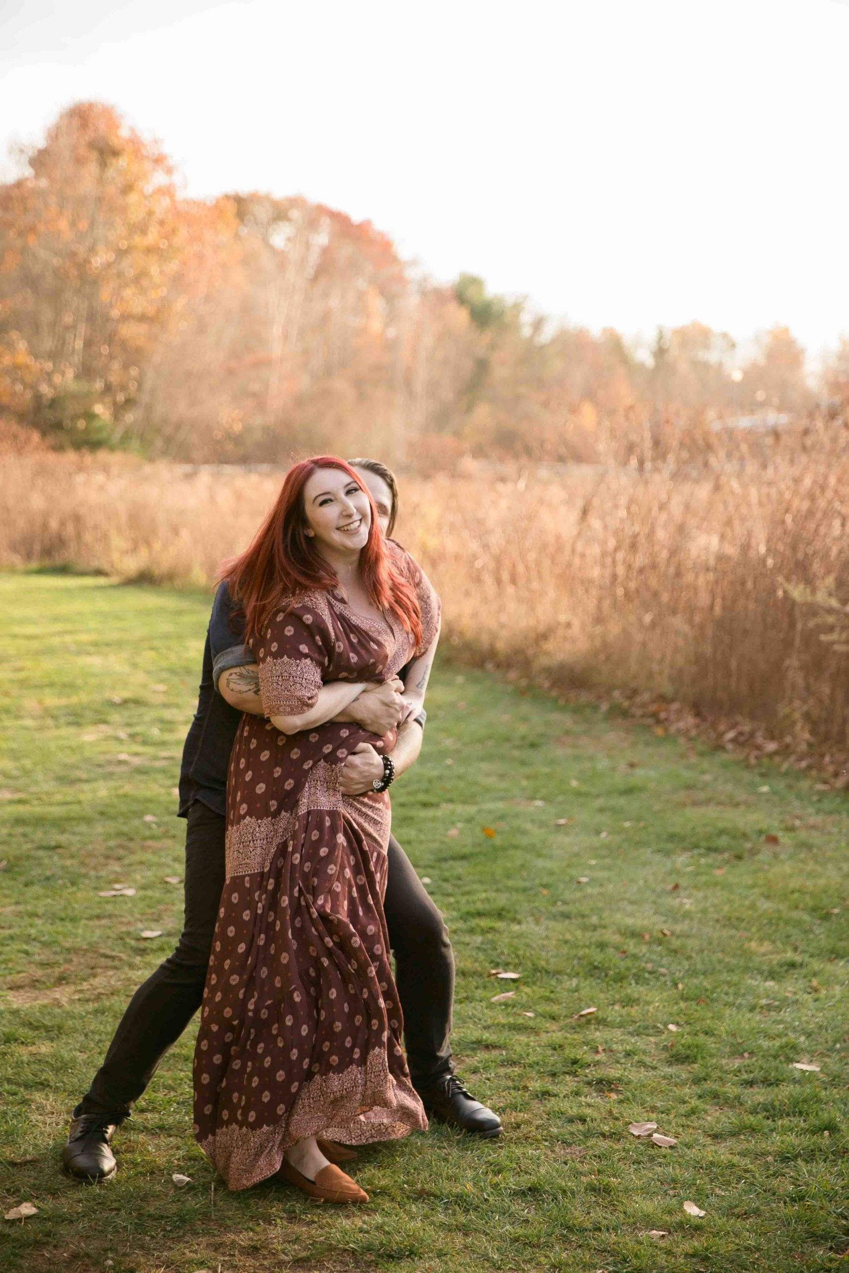Styled engagement shoot, pagan engagement shoot, witchy engagement shoot, bride, groom, woods, earth, fall