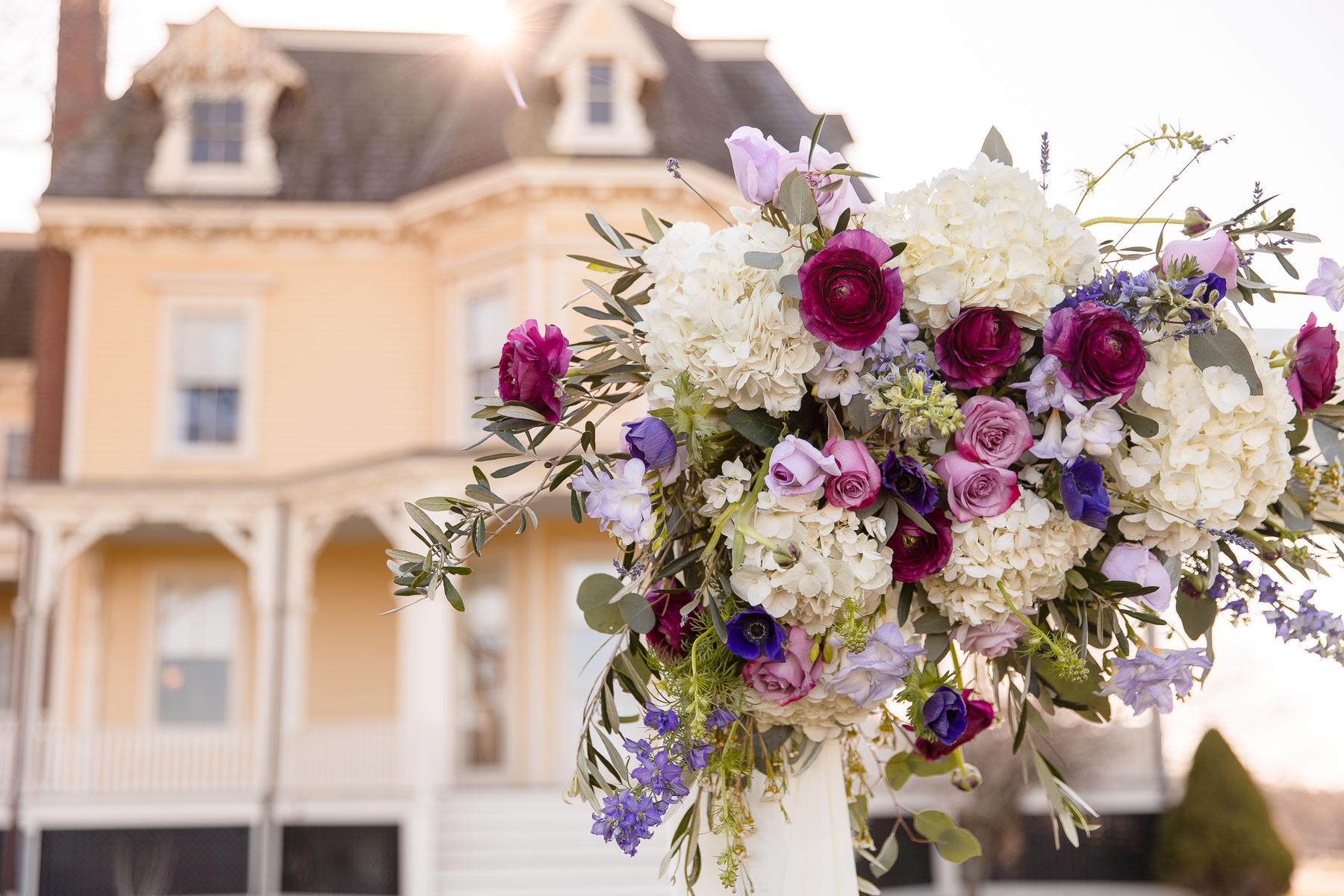 Eisenhower House, Newport, Rhode Island, Tracy Jenkins Photography, wedding, LGBTQ+, LGBT, Gay, Inclusive, Photography, Wedding photography, flowers, bouquet, arch, ceremony