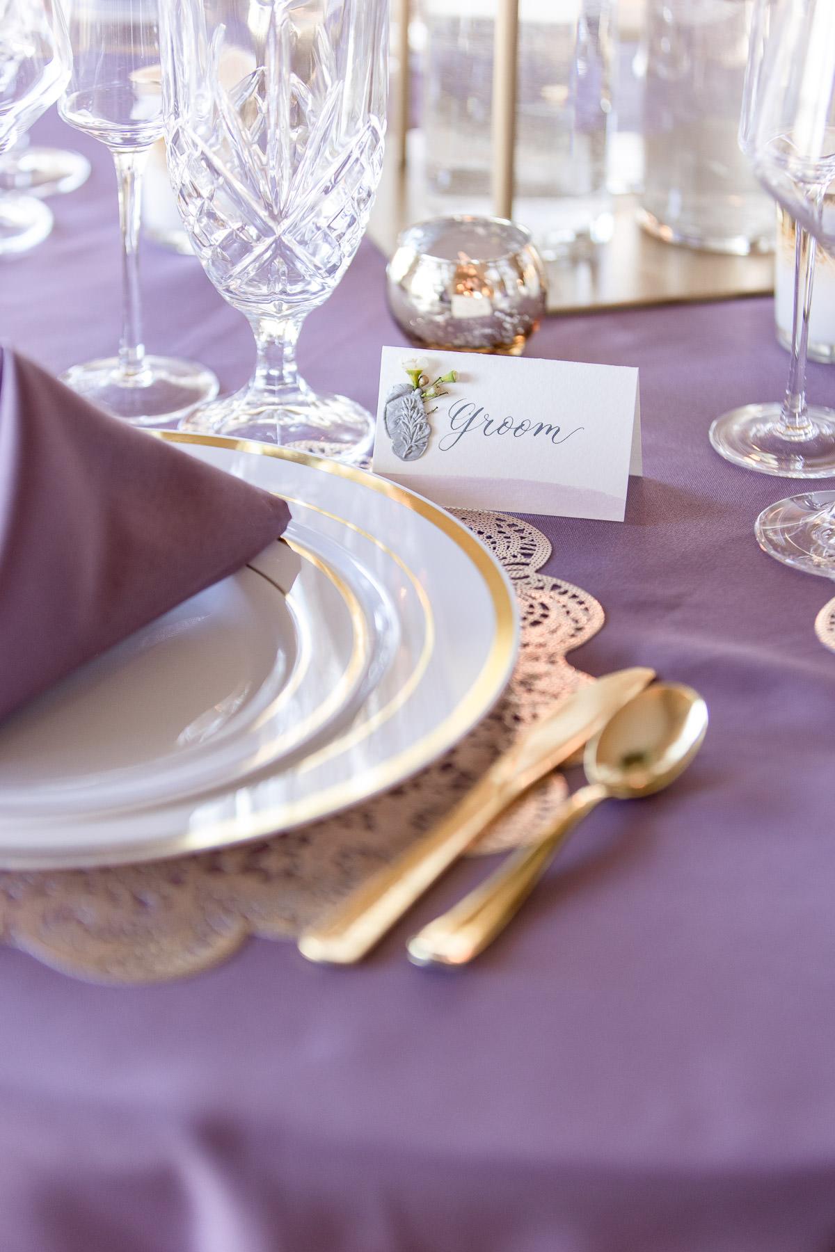 Eisenhower House, Newport, Rhode Island, Tracy Jenkins Photography, wedding, LGBTQ+, LGBT, Gay, Inclusive, Photography, Wedding photography, table setting, groom, lavender, gold