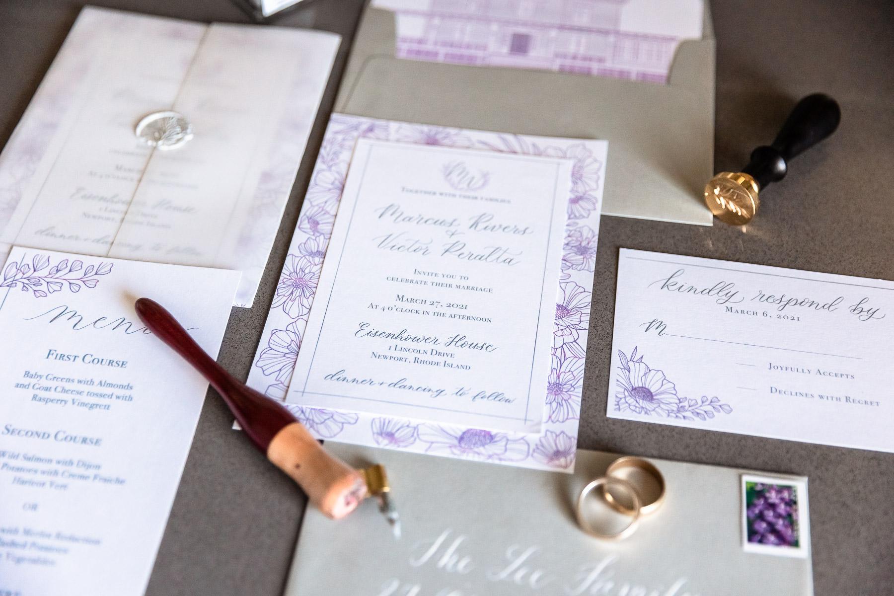 Eisenhower House, Newport, Rhode Island, Tracy Jenkins Photography, wedding, LGBTQ+, LGBT, Gay, Inclusive, Photography, Wedding photography, invitation suite, lavender, grey