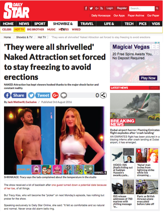 Daily Star With Tracy Kiss For Naked Attraction