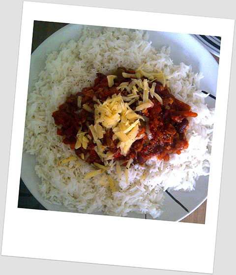 Dinner Day 12: Chilli Con Carne With Boiled White Rice & Cheddar