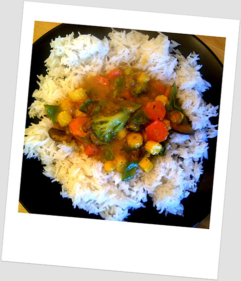 Dinner Day 20: Mixed Vegetables In A Malaysian Curry Sauce With White Rice
