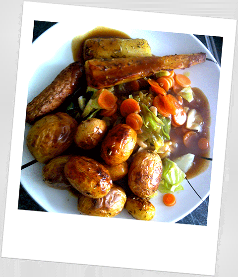 Dinner Day 4: Roast New Potatoes, Parsnip, Carrots, Cabbage & Soya Sausage