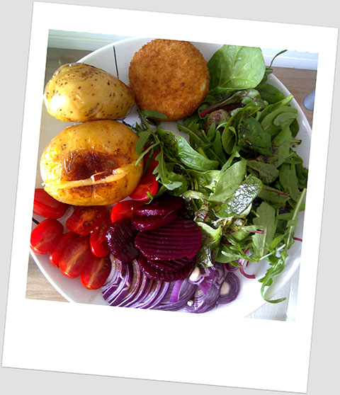 Day 8 Lunch: Jacket Potato, Baked Camembert  Cheese, Beetroot, Red Onion, Cherry Tomatoes & Baby Leaf Salad