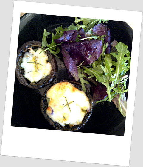 Lunch Day 22: Cheese Stuffed Herby Portobello Mushrooms And Baby Leaf Salad
