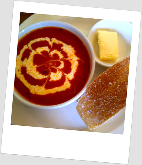 Lunch Day 26: Tomato And Cumin Spiced Soup With Double Cream, Soda Bread And Real Butter