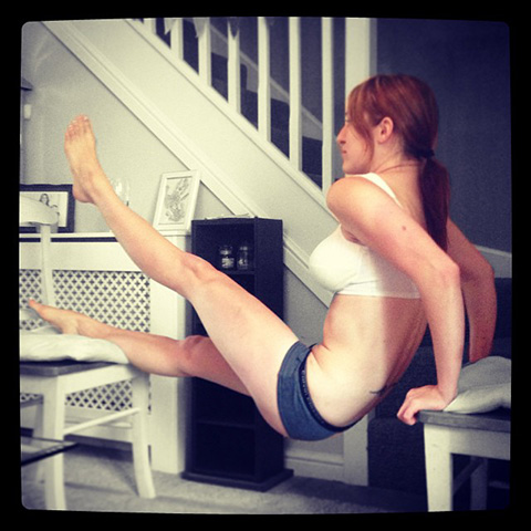 P90X Raised Leg Double Chair Dips