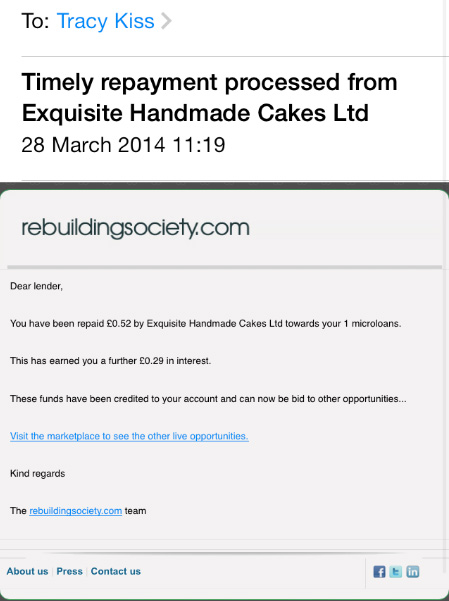 I Have Received A £0.52p Repayment From Exquisite Handmade Cakes Ltd.