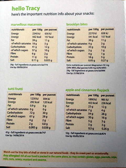 Nutrition Information For My Third Graze Box