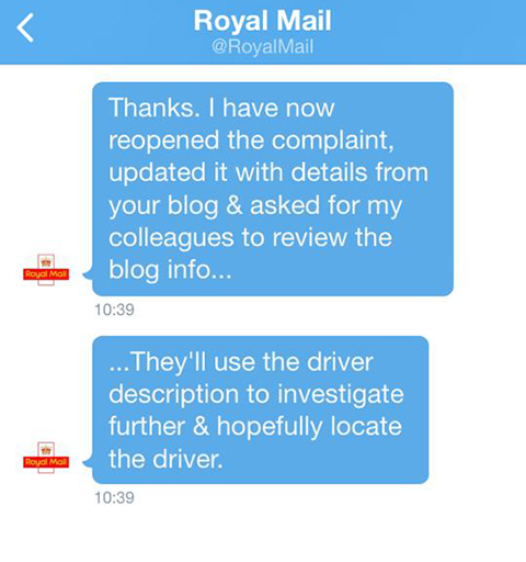 The Royal Mail Response To My Tweet