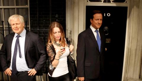 Madam Tussauds Tracy Kiss & Boris Johnson + David Cameron