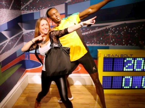 Madam Tussauds Tracy Kiss & Usain Bolt