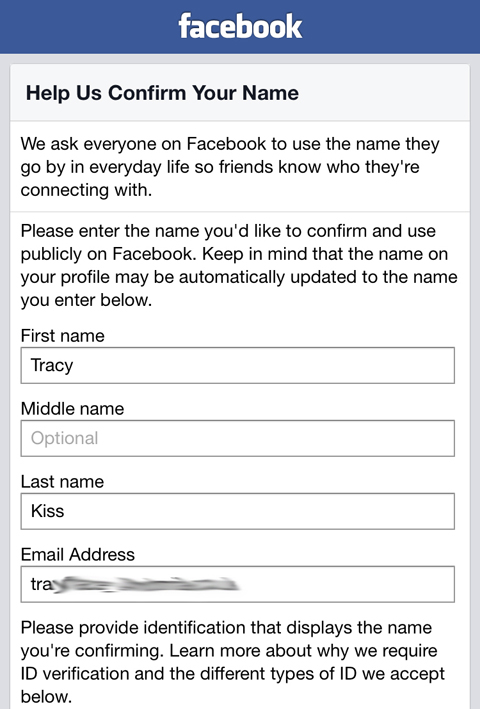 Facebook Help Us Confirm Your Name Form
