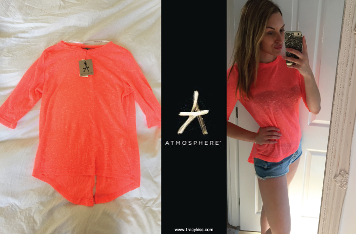 Atmosphere Neon Coral Mesh Jumper