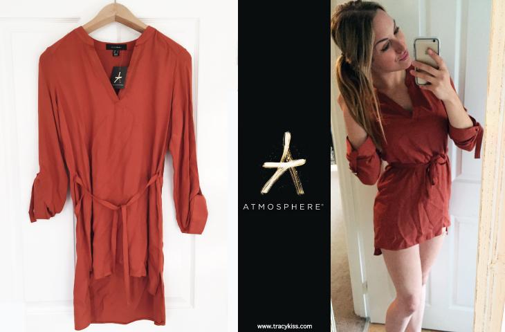 Atmosphere Burnt Orange V-Neck Belted Dress