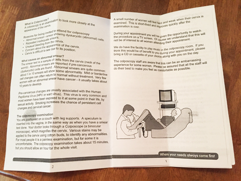 The NHS Booklet Showing A Colposcopy Examination