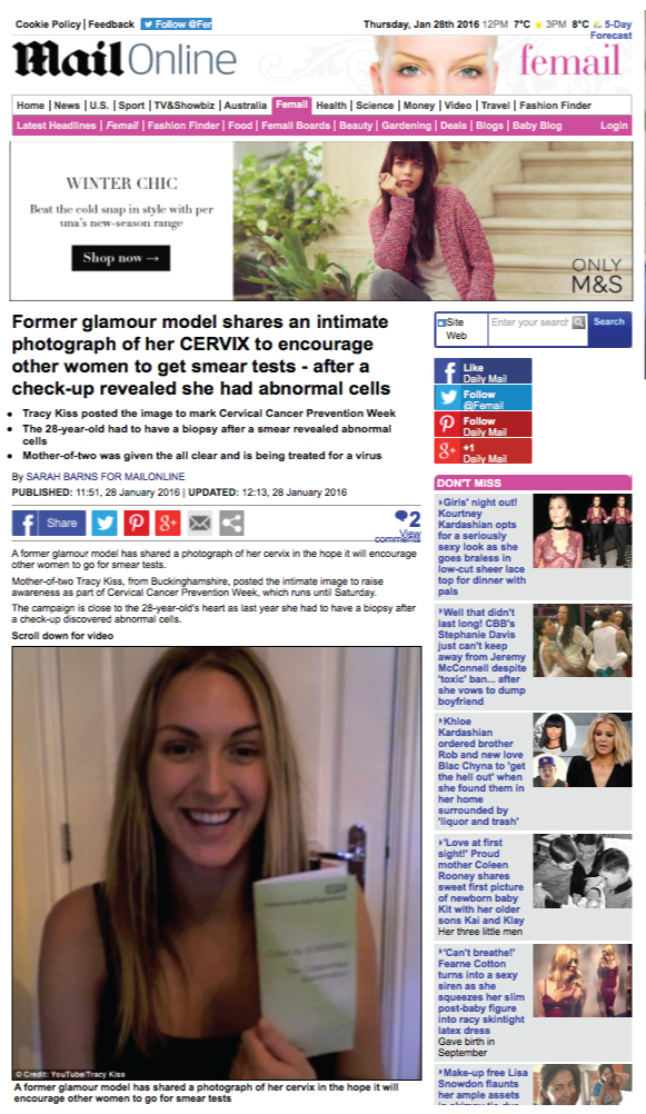 Tracy Kiss Raises Awareness For Cervical Cancer In The Daily Mail
