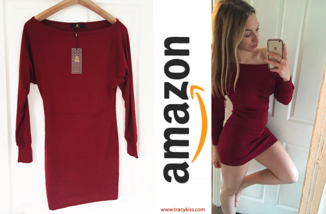 Amazon Wishlist Red Long Sleeved Bodycon Jumper
