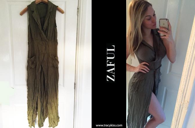 Zaful Khaki Sleeveless Split Dress