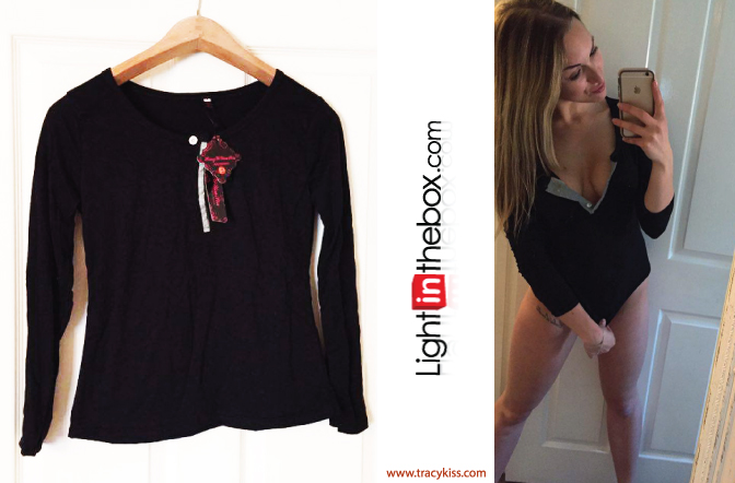 LightInTheBox Black Fitted Long Sleeve T Shirt