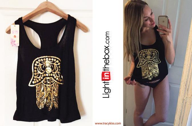 LightInTheBox Black & Gold Print Hamsa Hand Vest