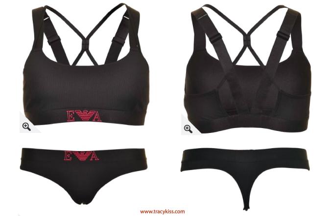 bcaa63effe917 Emporio Armani Womens Visibility Training Microfiber Black Bralette   Thong