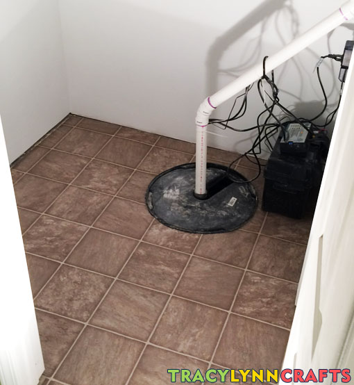 Inexpensive vinyl flooring laid in closet